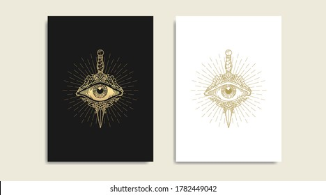 Knife with All seeing eye, symbol of the Masons, eye and  gold logo, spiritual guidance tarot reader design. engraving, decorative illustration tattoo