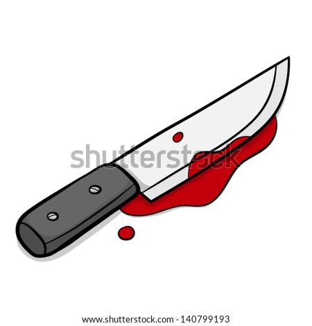 Knife Blood Cartoon Vector Illustration Isolated Stock Vector