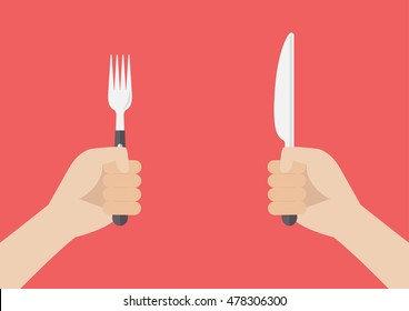 Knife and fork cutlery in hands
