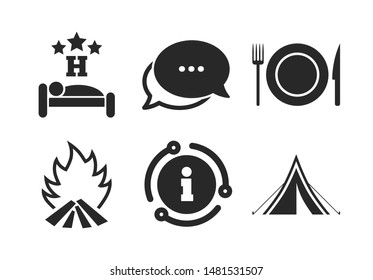 Knife, fork and dish. Chat, info sign. Food, sleep, camping tent and fire icons. Hotel or bed and breakfast. Road signs. Classic style speech bubble icon. Vector