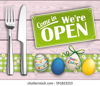 Knife and fork with easter eggs and open sign on the wooden background. Eps 10 vector file.