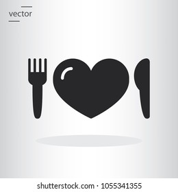 knife fork heart icon - vector illustration EPS, flat design icon
