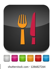 knife and fork icon, cutlery isolated, vector restaurant menu