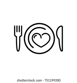 knife, fork, plate, heart icon vector
