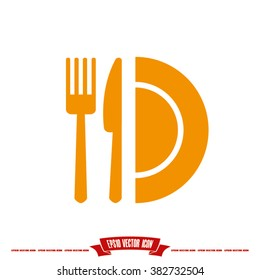 knife fork plate icon vector illustration eps10.