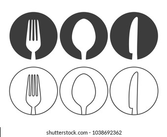 Knife, fork and spoon icon vector. Line style