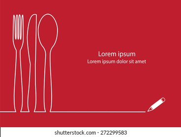Knife, fork and spoon line design vector.