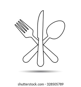 Knife, Fork and Spoon thin line style. Vector - cross