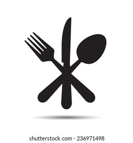 Knife, Fork and Spoon. Vector - cross