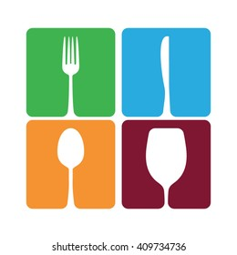 Knife, fork, spoon and wine glass, vector illustration