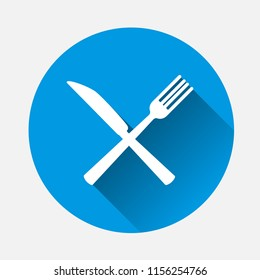 Knife and fork. Table setting on blue background. Flat image cutlery icon with long shadow. Layers grouped for easy editing illustration. For your design.