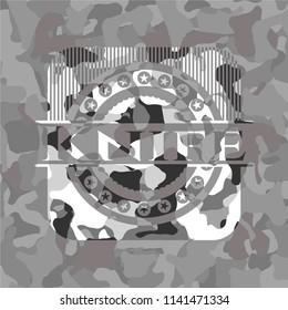 Knife grey camouflage emblem