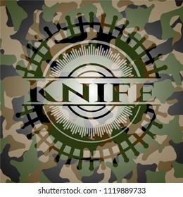 Knife on camo pattern