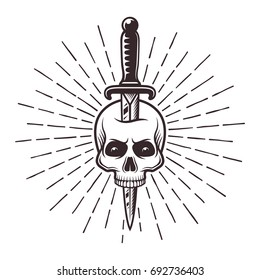 Knife in skull tattoo print with rays vector monochrome illustration in  retro style isolated on white 5ecb5203b63