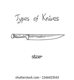 Knife types, slicer, vector outline illustration with inscription