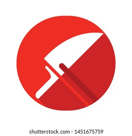 Knife vector icon isolated on red background