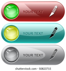 Knife. Vector internet buttons.