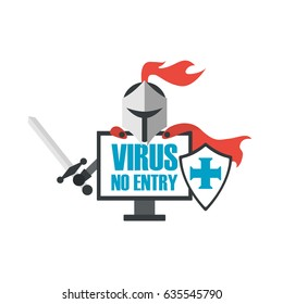 knight is antivirus program for protect your data, isolated on white background