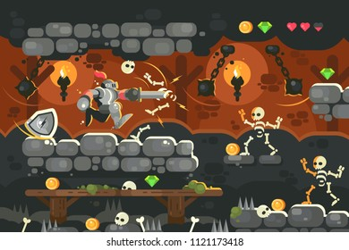 Knight in armor with sword in dungeon. Game interface with skeleton in castle. Vector illustration