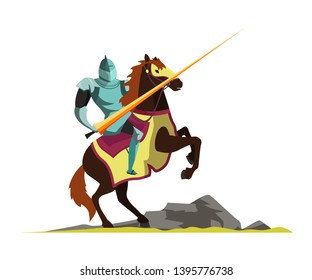 Knight attacking on horseback flat vector illustration. Tournament scene. Armed medieval fighter cartoon character. Ancient warrior. Affair of honor, duel. Middle ages lord isolated design element