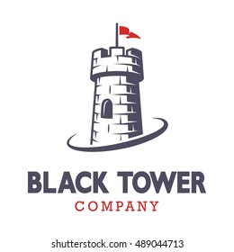 Knight black tower logo with red flag. Monochrome on white background.