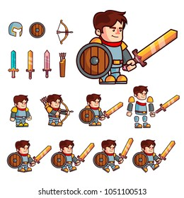Knight cartoon character. Character is prepared for animation or creating fantasy video games. Character with a set of additional elements a shield, three sword, a bow, a quiver and a helmet