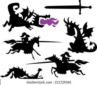 Knight and Cartoon Dragon