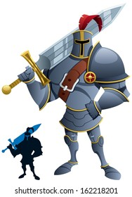 Knight: Cartoon knight. Silhouette version included. No transparency used. Basic (linear) gradients.
