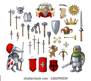Knight character with different game elements set. Various swords, medieval weapons, armor, helmet, shield, pike, axe, mace and many others. Cartoon vector illustration collection for mobile game GUI