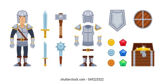 Knight character with different game elements. Vector icons of sword, medieval weapons, armor, helmet, shield, coins, gemstones and treasure chest. Simple vector illustration