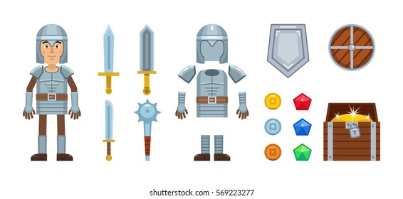 Knight character with diverse game elements. Vector icons of sword, medieval weapons, armor, helmet, shield, coins, gemstones and treasure chest. Simple vector illustration
