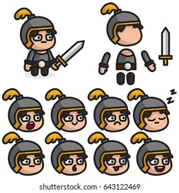 The knight character is ready for animation. Character for mobile applications and game design.