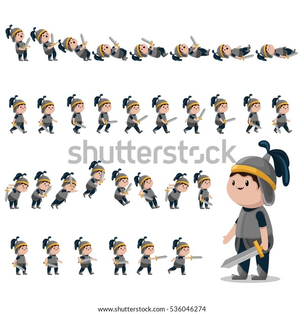 Knight Character Sprites Games Animation Knight Stock Vector