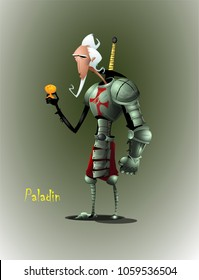 Knight with a cup of the grail in his hands. The stylized image of spiritual search through the prism of observing an outward ritual. Second image from set of ten illustration. Vector