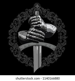 Knight design. Armour gloves of the knight, shield and the sword of the Crusader, isolated on black, vector illustration