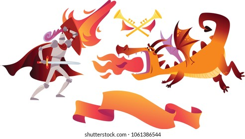Knight and dragon. The comic caricature.