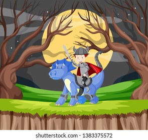 Knight and dragon in forest illustration