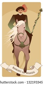 Knight dressed in the old style, with mustache and feather hat holding a wand surrounded by leaves and flowers, riding an elegant horse with long mane and clover emblem on the chest.