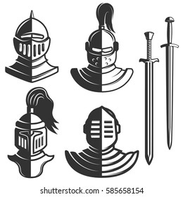 Knight emblems template with swords isolated on white background. Design element for logo, label, emblem, sign, brand mark. Vector illustration.