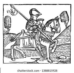 The Knight is an engraving from William Caxton's Game, vintage line drawing or engraving illustration.