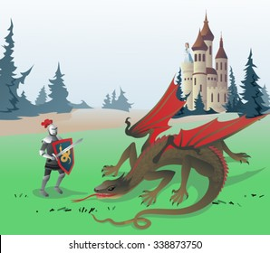 Knight fighting Dragon. The vector illustration of the Medieval Knight fighting Dragon to save the Princess locked in the Castle. Illustration based on Traditional Fairy Tales. No Transparency!