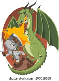 Knight Fighting Fire Dragon in a cave, illustration cartoon.