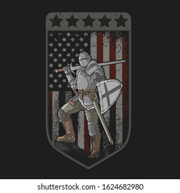 knight full armor sword and shield american flag background grunge