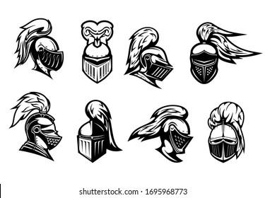 Knight in helmet armor, spartan warrior head, vector heraldic icons. Medieval warrior knight in armour helmet with visor and plumage, heraldry symbols