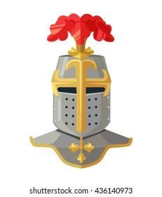 Knight helmet. Knight armour. Knight head. King armor. Vector flat cartoon illustration