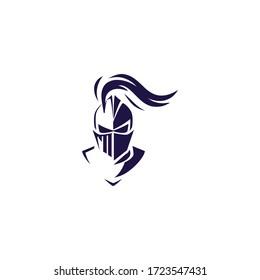 knight helmet logo icon design a simple line art style