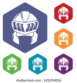 Knight helmet medieval icons vector colorful hexahedron set collection isolated on white