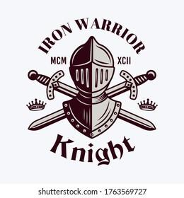 Knight helmet and swords vector royal emblem, badge, label or logo in vintage style