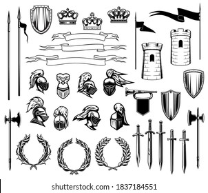 Knight heraldry vector set of medieval shields, royal crowns, knight armors, helmets and swords. Ancient towers, ribbon banners and flags, trumpet and laurel wreath, heraldic emblem or coat of arms