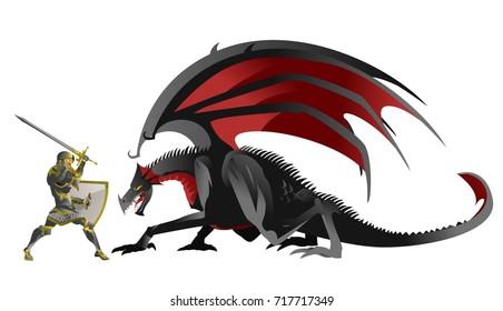 knight hero fighting a black dragon